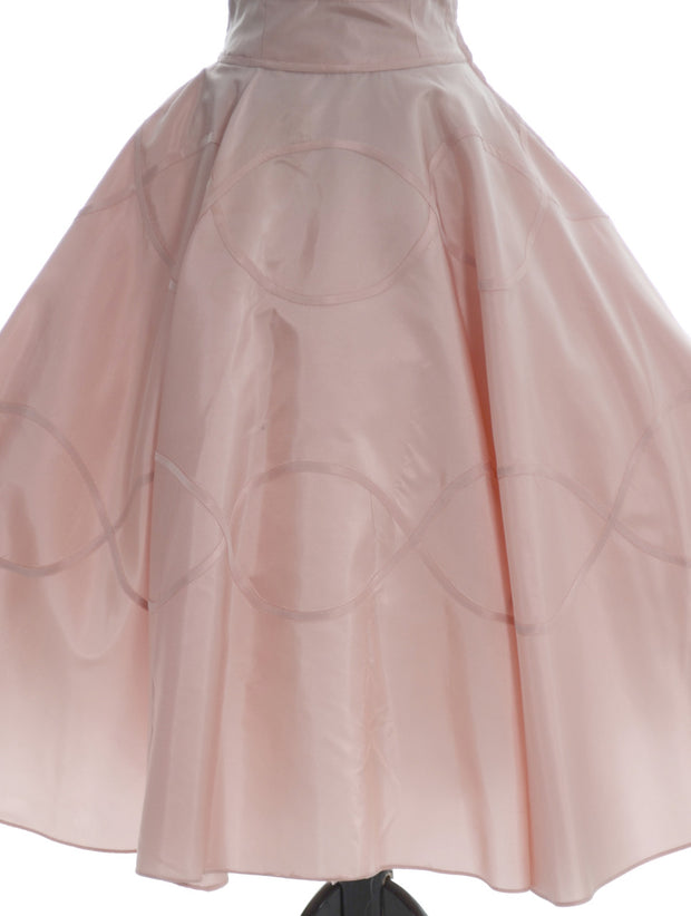 1950s Rose Pink Peach Party Dress Velvet Satin - Dressing Vintage