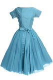 Blue 1950's party dress with bow