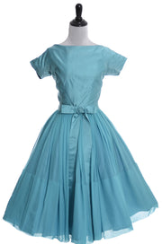 1950's Vintage Dress Blue Silk Chiffon Satin Kappi Nicholas Ungar - Dressing Vintage