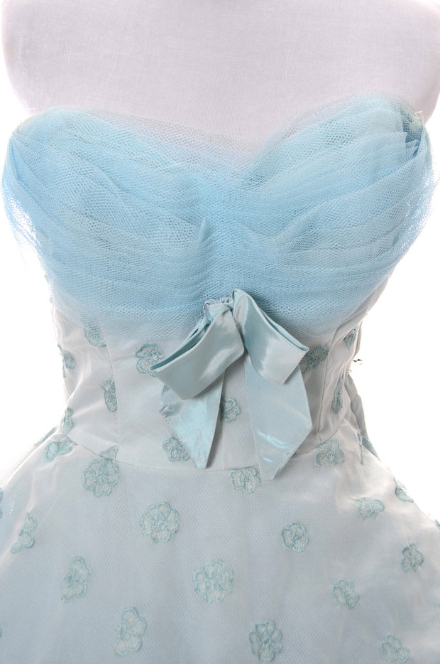 Strapless Tulle 1950s Vintage blue party dress - Dressing Vintage