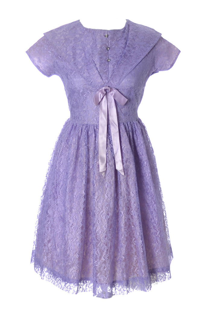 Late Vintage 1950s purple lace little girl\'s party dress – Dressing ...