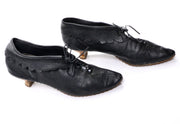 1960's Geppetto of Course Scalloped Black Leather Booties Size 8 - Dressing Vintage