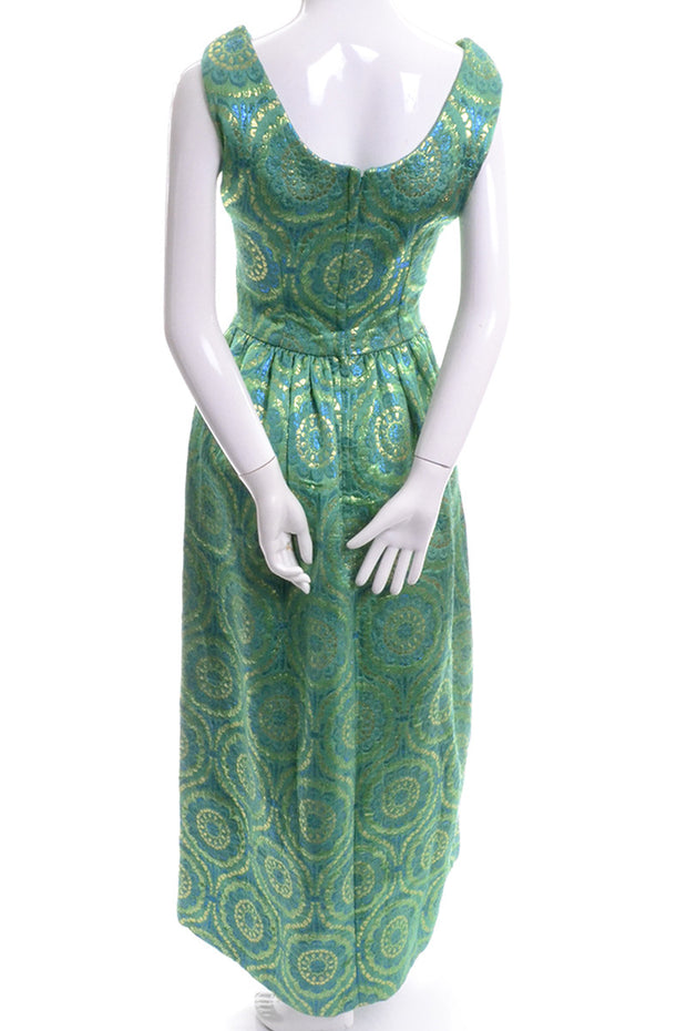 1960's Green and Gold Vintage Evening Gown