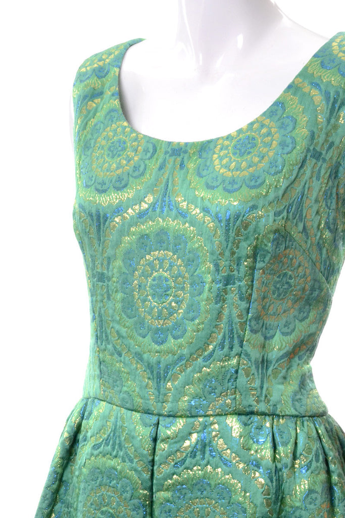 Green and Gold Vintage 1960's Long Dress Detail