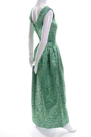 60s Green and Gold Vintage Jacquard Satin Dress