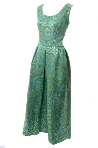 1980s Victor Costa Vintage Evening Gown Iridescent Green Bows 6/8