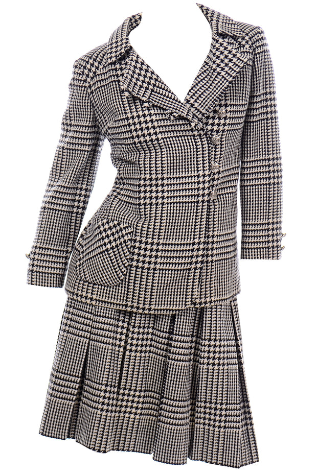 Vintage 1960s Black White Houndstooth Wool Skirt Suit