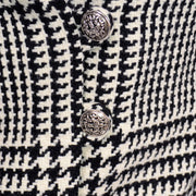 Vintage 1960s Black White Houndstooth Wool Skirt Suit Decorative Buttons