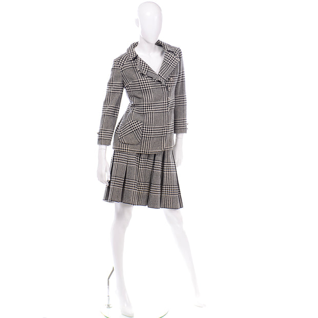 Vintage 1960s Black White Houndstooth Wool Skirt Suit 1960s