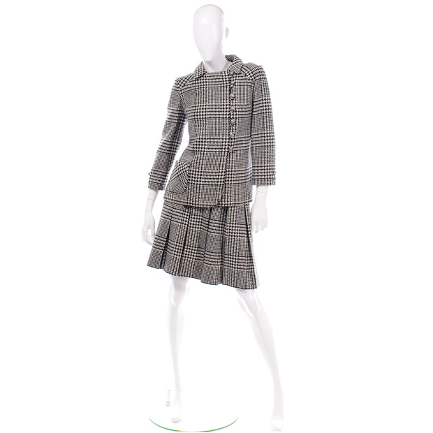 Vintage 1960s Black White Houndstooth Wool Skirt Suit Outfit