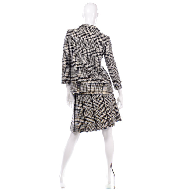 Vintage 1960s Black White Houndstooth Wool Skirt Suit 60s
