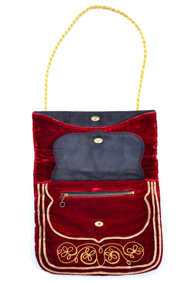 Meyers red velvet and gold embroidered vintage handbag