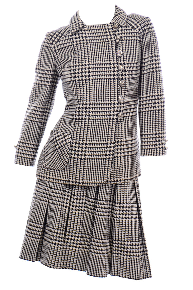 Vintage 60s Black White Houndstooth Wool Skirt Suit