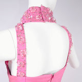 Beaded cage bodice pink Pierre Cardin evening gown size 4