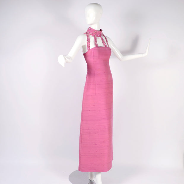 1966 Pierre Cardin Pink Silk Evening Gown With Cutwork and Jeweled Neck