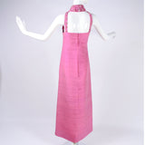 Back of Long Pink Pierre Cardin Vintage Dress