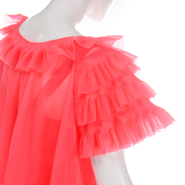 1960s Vanity Fair Coral Pink Ruffle Peignoir Nightgown Set