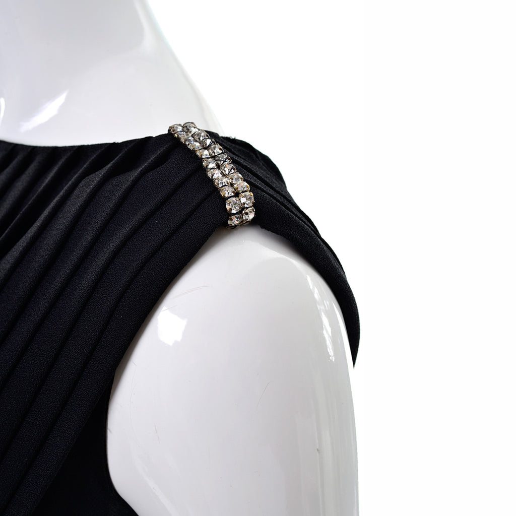 Rhinestone Details from a 1960's Youth Guild Black Maxi Dress