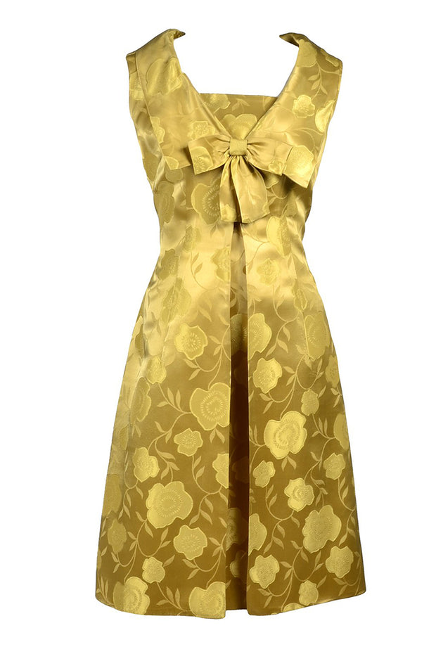 Gold Satin 1960s vintage dress