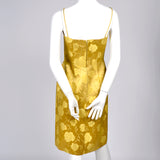 1960s vintage dress 60s gold satin