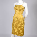 1960s vintage dress Gold Satin