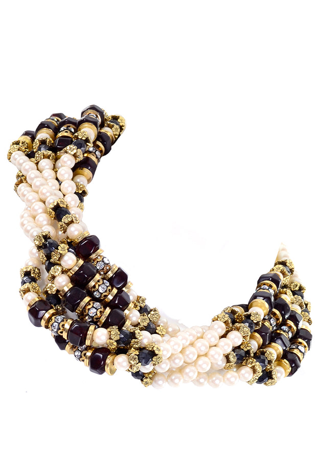 1960s Vintage Multi strand Necklace Pearls Beads & Rhinestones
