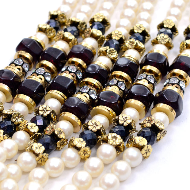 1960s Vintage Necklace Pearls Beads & Rhinestones