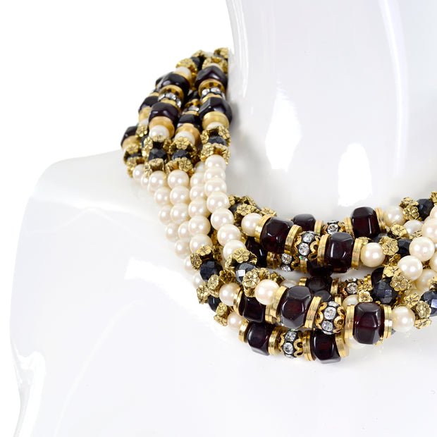 Multi Strand 1960s Vintage Necklace Pearls Beads & Rhinestones