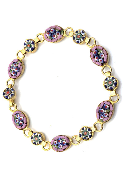 Micro mosaic vintage pink and blue bracelet