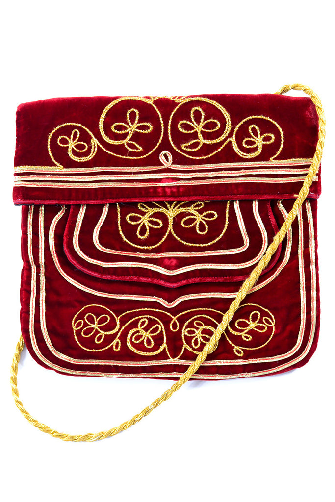 Meyers red velvet and gold Moroccan vintage handbag