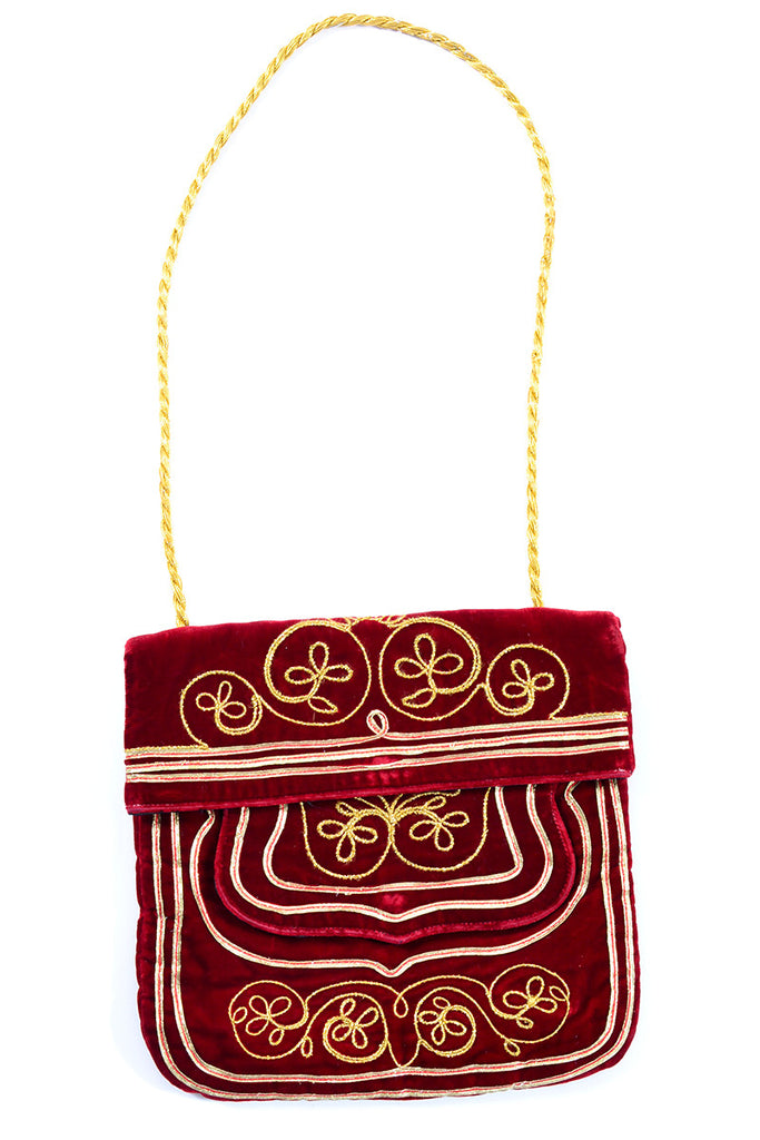 1960s Meyers red velvet and gold Moroccan vintage handbag
