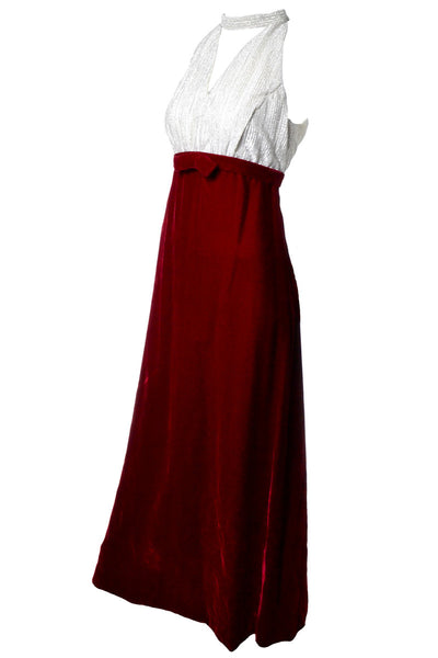 Red Velvet Vintage Dress with Choker Collar