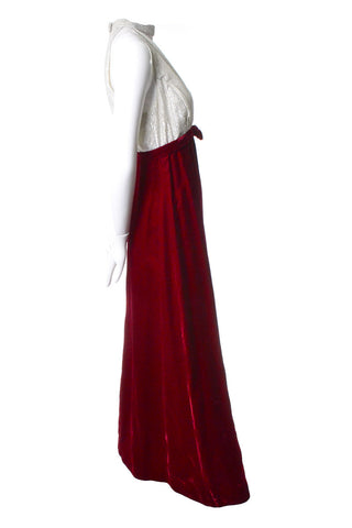 Red Velvet Vintage Dress with Silver Bodice
