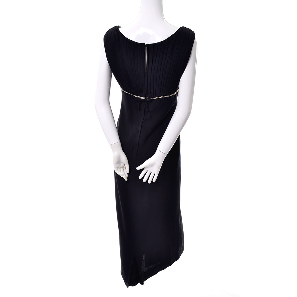 Youth Guild Vintage 1960's Long Black Dress with Rhinestones