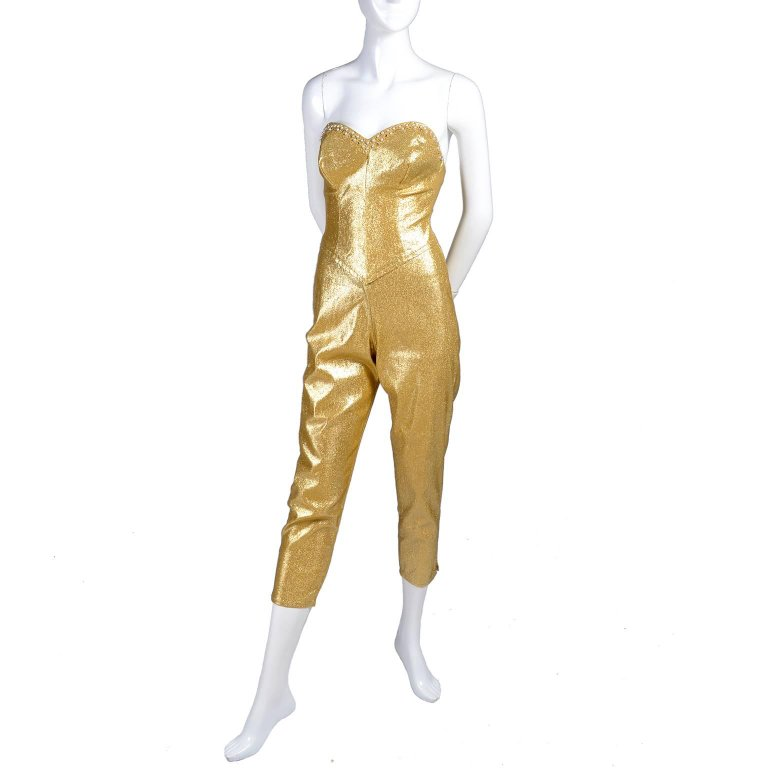 Tobi of Californa 1950's gold lurex strapless jumpsuit