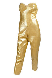 Gold Lurex stretch cropped capri jumpsuit