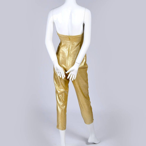 Tobi of California 1950's jumpsuit gold lurex
