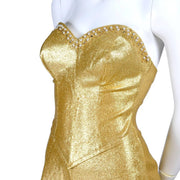 Gold vintage jumpsuit in stretch lurex with rhinestone and pearl bustline