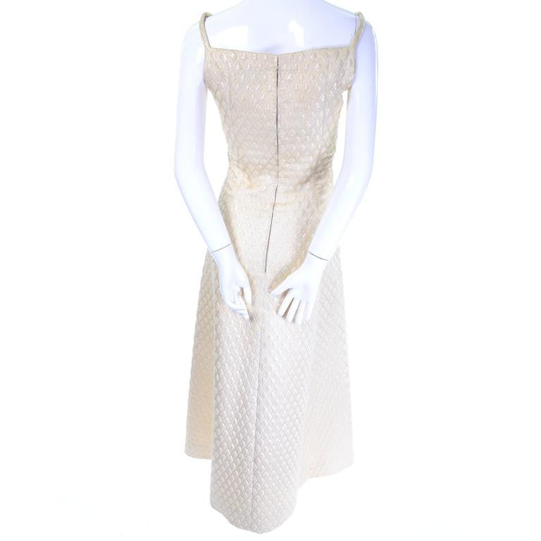 Jacques Heim Paris cream sparkle formal vintage designer dress - Dressing Vintage
