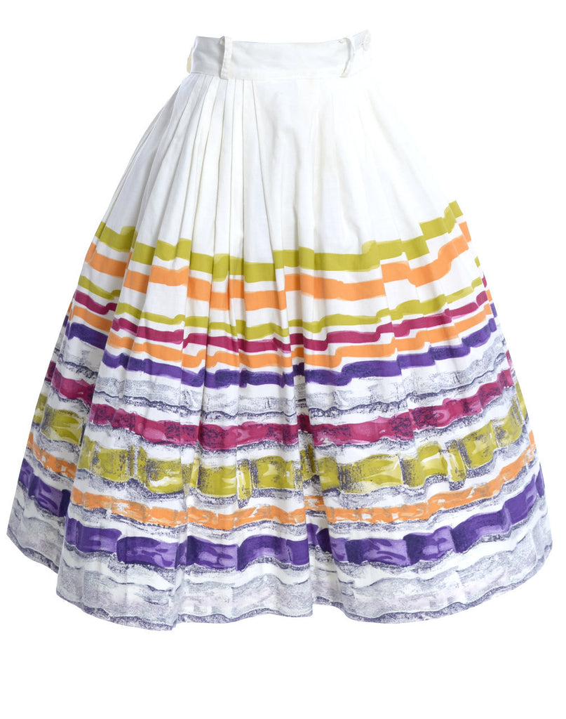 1950s vintage skirt multi color cotton
