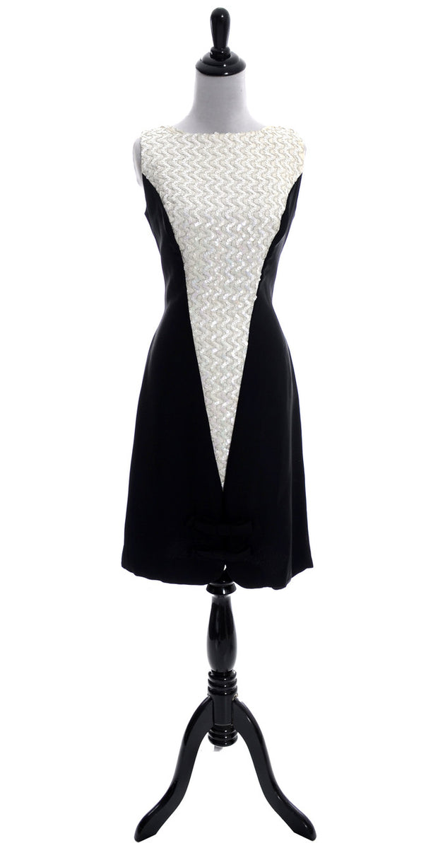 1960s Sleeveless Vintage Dress Bow Sequins - Dressing Vintage