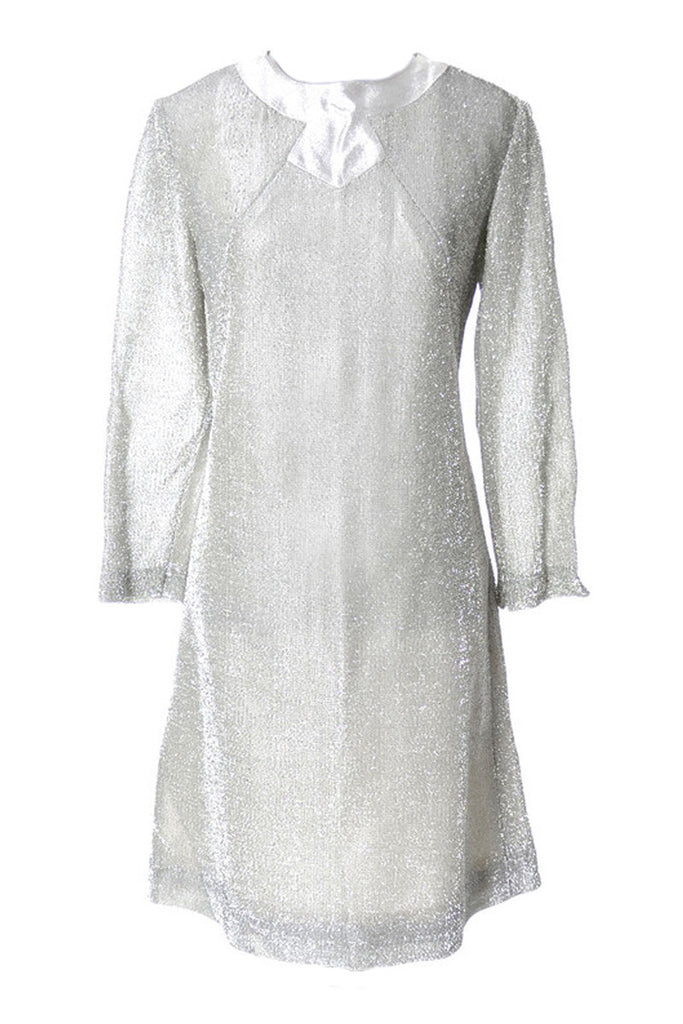 Silver Lame 1960s Holiday Dress