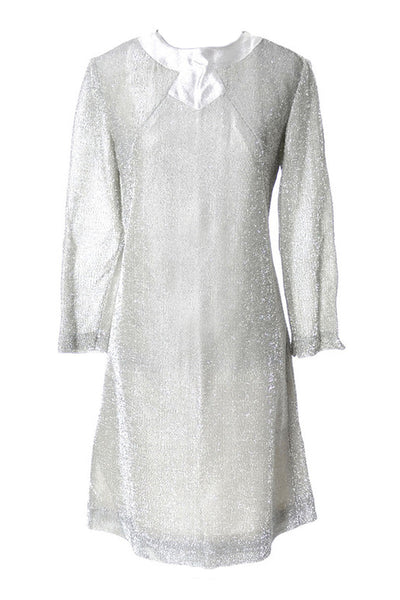 1960's Space Age Jetson's Silver Sparkle Mod Vintage Dress - Dressing Vintage