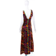 Colorful 1970s Vintage Bendels Colorful Maxi Dress 70s