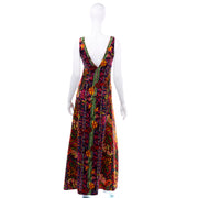 1970s Vintage Bendels Colorful Maxi Dress Paisley