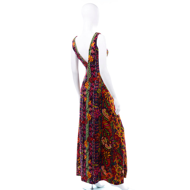 1970s Vintage Bendels Colorful Maxi Dress colorful paisley print