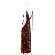 Sleeveless 1970s Vintage Bendels Colorful Maxi Dress