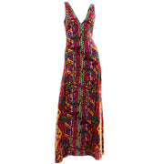 Colorful Floral Paisley 1970s Vintage Bendels Colorful Maxi Dress