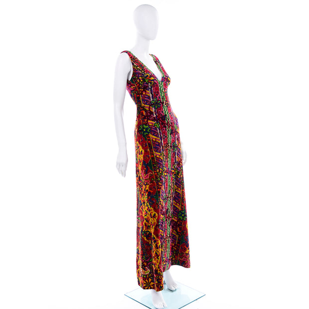 Paisley Print 1970s Vintage Bendels Colorful Maxi Dress