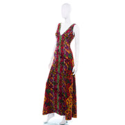 Sleeveless Bold 1970s Vintage Bendels Colorful Maxi Dress